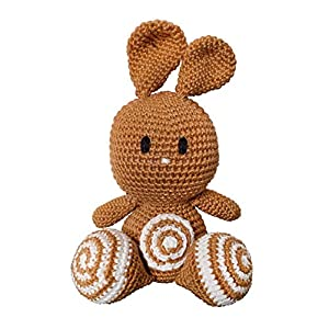 LOOP BABY – gehäkelter Hase Henry- aus Bio-Baumwolle – Stofftier Baby senfgelb