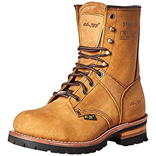 Adtec Men's 9 inch Steel Toe Logger Boot, Brown, 9.5 M US