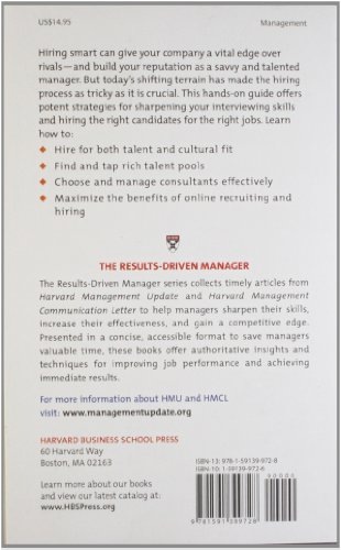 Results Driven Manager: Hiring Smart for Competitive Advantage (Harvard Results Driven Manager)