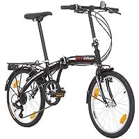 Multibrand, PROBIKE FOLDING 20, 20 pollici, 310 mm, City Bike pieghevole, 6 velocità, Unisex, anteriore e posteriore Mudgard, Shimano, Bianco Verde (Nero-Opaco)