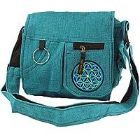 Guru-Shop Shoulder Bag, Hippie bag - Blue, Unisex Adults, Turquoise, Cotton, Size:One Size, 25x25x7 cm, Shoulder Bags