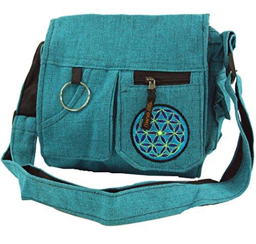 Guru-Shop Schultertasche, Hippie Tasche - Blau, Herren/Damen, Türkis, Baumwolle, Size:One Size, 25x25x7 cm, Alternative Umhängetasche, Handtasche aus Stoff
