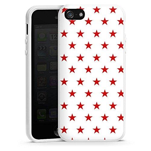 Apple iPhone 5s Housse Étui Protection Coque Étoile Rouge blanc Motif Housse en silicone blanc