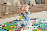 Fisher-Price – Große Spiel- und Krabbeldecke mit Tiermotiven und Babyspielzeug, 1 x 1.50 m, blau - 5