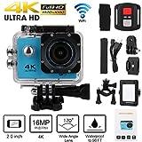 HKFV Imprägniern Sie 4K Wifi 1080P Sport-Tätigkeits-Fernsteuerungskamera DVR Nocken-Kamerarecorder F61 Remote-Bewegungskamera Sport camera (Blau)