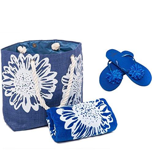 AIREE FAIREE Strandtasche Damen (46 x 33 cms) +Strandtuch (75 x 150 cms) + Zehentrenner 3 STÜCK SET Blumenmuster Groß(EU 40-41), Blau