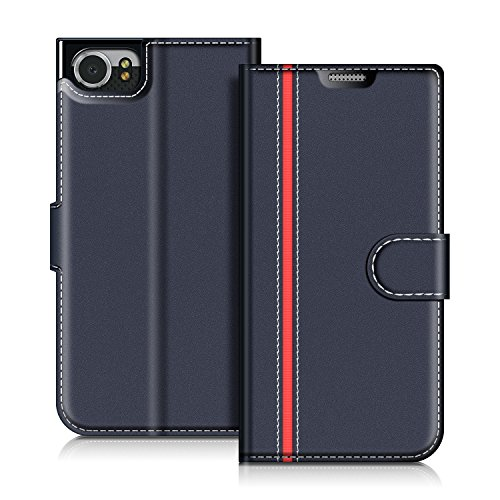 COODIO Handyhülle für BlackBerry KEYone Handy Hülle, BlackBerry KEYone Hülle Leder Handytasche für BlackBerry KEYone Klapphülle Tasche, Dunkel Blau/Rot