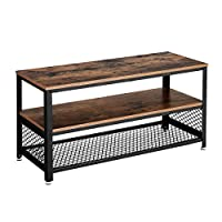 VASAGLE Industrial TV Cabinet for TVs up to 43 Inches, TV Stand, Console, Small Coffee Table with Metal Frame, for Living Room Bedroom, Rustic Brown LTV40BX