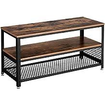 VASAGLE Meuble TV Vintage, Table Basse, Table de Salon, Armature  métallique, Texture 21fc3a048ba7
