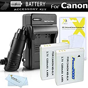 2 Pack Battery And Charger Kit For Canon PowerShot SX260 HS SX260HS Canon SX280 HS SX280HS SX500 IS SX510 HS SX510HS SX170 IS S120 SX600 HS SX700 HS D30 Digital Camera Includes 2 Extended Replacement (1200Mah) NB-6L Batteries + Ac/Dc Charger ++