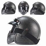 MRDEER Retro Motorradhelm Vintage Handgemachtes PU-Leder Integralhelm Helm Unisex Full-face Scooter-Helm Roller Sturz-Helm mit Visier, Maske, Brille(M,L,XL,XXL),Gray,M