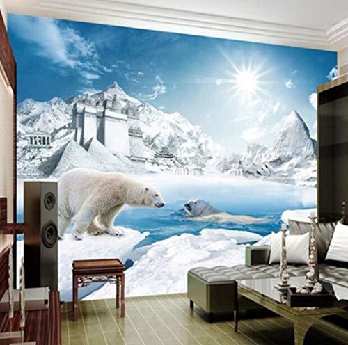 Murale 3D Bella Orso Polare Ghiaccio Neve Sole Pittura Murale Camera Da  Letto Soggiorno Divano Murales Foto Wallpaper, 380X260Cm (149.61X102.36 In)