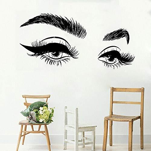yiyiyaya Wimpern Auge Wandtattoo Wimpern Wandaufkleber Mädchen Augen Augenbrauen Dekor86 * 42cm (Halloween-wimpern Oben Unten Und)