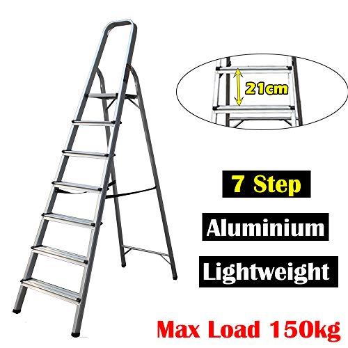 Escalera de aluminio de 7 peldaños para bricolaje, escaleras ligeras, portátil, fácil de transportar...