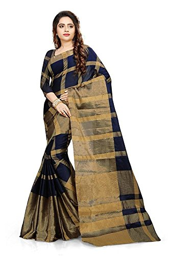 Saree Center Cotton Silk Saree (100_Blue_Free Size)