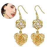Orecchini pendenti per donne Oro 24 carati Fiore rosa Dangle Anelli orecchie...