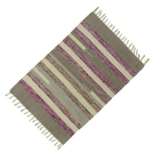 Handgewebte Matte Baumwolle Jute-Teppich Streifenmuster Werfen Dari Teppichboden Läufer Teppich 36