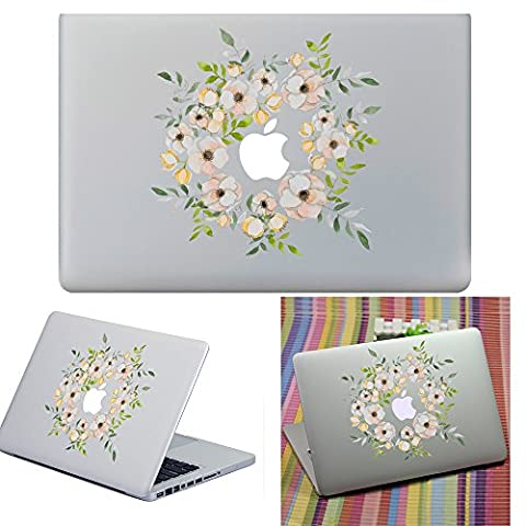 Macbook Aufkleber Abziehbild, YUDA Tech Abnehmbar Bl¨¹hende Blumen Entwurf Vinyl Decal Haut Stickers Passt Perfekt f¨¹r Laptop MacBook Air/Pro/Retina 13 15 Zoll