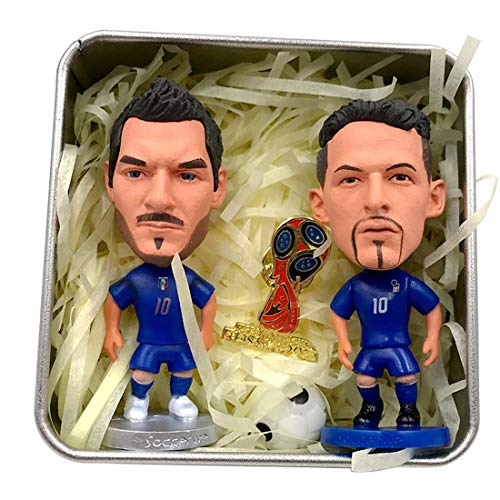 Baggio + Totti Zwei Action-Figuren Set italienisches Blue Jersey Mini Soccer Star Statue-Resin Sculpture Home Office Car Decor Figuren für Fans Geschenke -