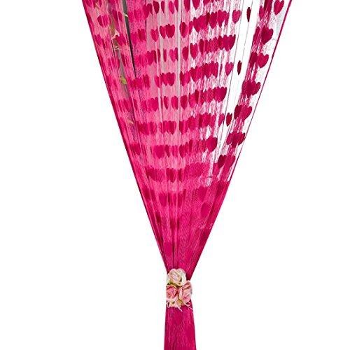 Preisvergleich Produktbild Amonfineshop(TM) Nette Herz-Linie Tassel String Tür-Vorhang Fenster Vorhang Zimmer Valance (hot pink)