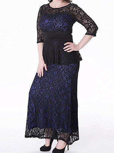 Femme Longue Robe de Cocktail de Dentelle Robe De Soiree Manche 3/4 Grande Taille Bleu