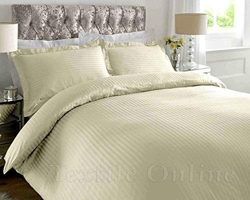 T 300 Hotel Qualität Satin Streifen 100% ägyptisch Baumwolle Luxus Bettbezug Bettwäsche-Set (Beige,Single)DE