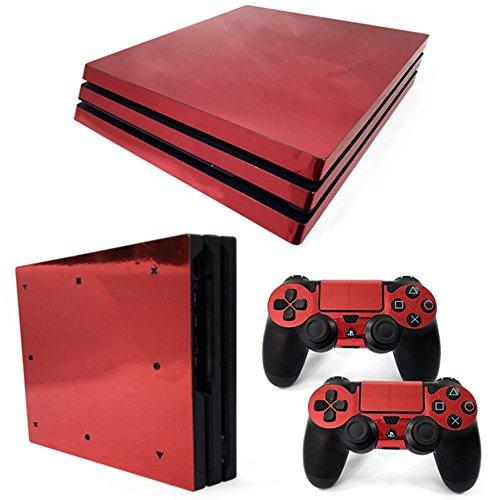stillshine PS4Pro Vinyl Skin Decal selbstklebend Aufkleber für Playstation 4Pro Konsole & 2Dualshock Controller Set rot Glossy Red