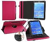 Emartbuy® Blaupunkt Polaris QC Tablet 7.85 Zoll Universal (7-8 Zoll) GepolsterteDesign Dark Rosa 360GradrotierendeStandFolioGeldbörseTascheHülle + Rosa Eingabestift