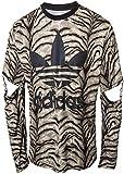 adidas Originals Jeremy Scott JS Slash del Quadrifoglio de Los Hombres De Tigre-Camicia a Maniche Lunghe per Uomo, Nero, XS
