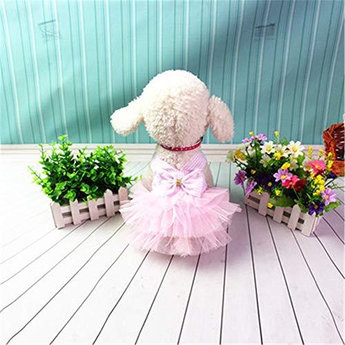 MYYXGS Hundebekleidung Kleidung Kleid Hundespitze Seite Kleid Baumwolle Gaze Hund Rock Teddy VIP als Bär Rock Gurt Rock XS -