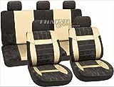 PREMIUM Kunstleder Sitzbezug Sitz Auto Bezug Beige SET Universal Universell für viele Fahrzeuge