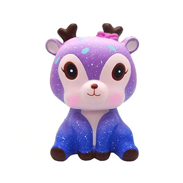 Prevently New Creative 12cm Squishy Galaxy Cute Deer Scented Squishy Slow Rising Squeeze Strap Kids Toy Gift (D6)