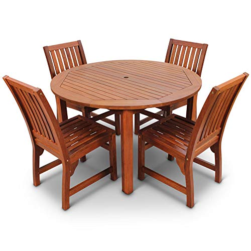 BrackenStyle Devon Hardwood Dining Set 4 Seat Round Indoor or Outdoor Table and Chairs