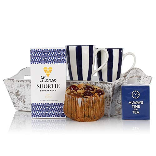 Tea Tray Gift - Two Mugs, Biscuits, Cake, Tea and a Wooden Tray! - Ideal Hamper Gift