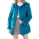 Damen Mantel MYMYG Winter Elegant Warm Faux Fur Kunstfell Cardigan Trenchcoat in Felloptik Jacke Lang Mantel Coat Wintermantel Outwear(Blau,EU:36/CN-M)