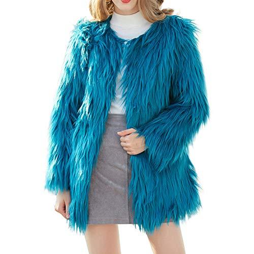 Damen Bekleidung Damen jacken Herbst wintermantel plüschjacke Winter Winterjacke Solide Lässig Dicker Winter Slim Down Lammy Jacke (Blau,XXXL) Slim-duffle