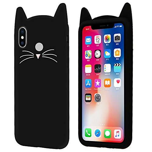 Aafiya Stylish Cat Silicon Case Soft Back Cover for Redmi Y2 with Perfect Cuts and Edges Plus All Round Protection (Black)