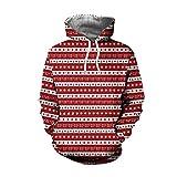 SEWORLD Weihnachten Christmas Herren Männer Herbst Winter Weihnachten Drucken Langarm Mit Kapuze Sweatshirt Top Bluse(X1-e-rot2,EU-44/CN-M)