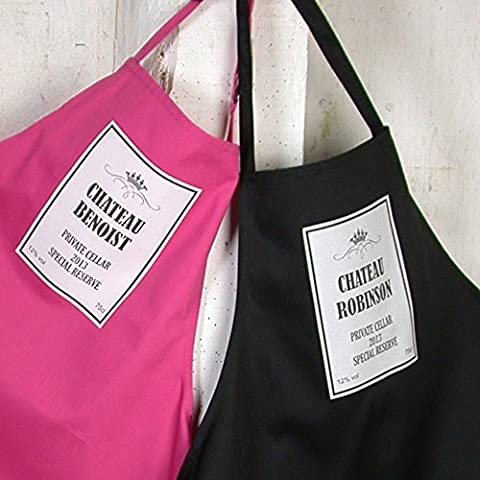 Apron - Personalised Chateau Wine Label design on black apron. Add your choice of Chateau name in the gift message box. (See our other listing for pink apron) by OFL