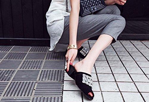NobS Strass One Caratteri Pantofole Donne Della Calza Il Formato Di Grandi Dimensioni Tacco Basso Sandalo Casual Black