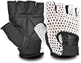 WHITE MESH BLACK LEATHER WEIGHT LIFTING PADDED GLOVES FITNESS TRAINING CYCLING GYM SPORTS BODY BUILDING