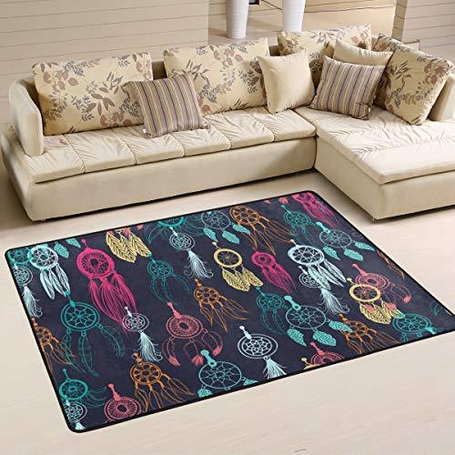 JSTEL Alfombra de salón cómoda para Caminos de Dormitorio, Lavable, Suave, étnica, Tribal con atrapasueños y alfombras de área de Plumas, 90 x 60 cm, 180 x 120 cm