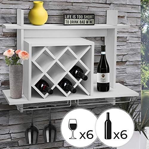 MIADOMODO Weinregal mit Glashalter - für 6 Flaschen und 6 Gläsern, in Weiß, Wandmontage...