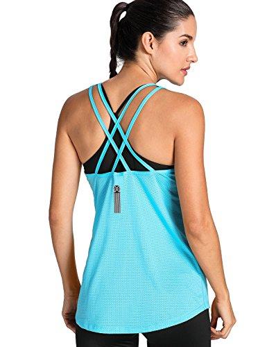 Meliwoo - Camiseta Deportiva de Tirantes Prendas Deportivas Para Mujer Azul S