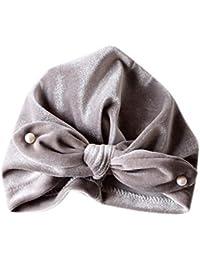 Miyanuby Turban Bonnet pour Bébé Fille, Bébé Fille Chapeau de Bowknot avec  des Perles Décorées, Coton Bonnet Ajustable Respirant Indien… 33076af76ab