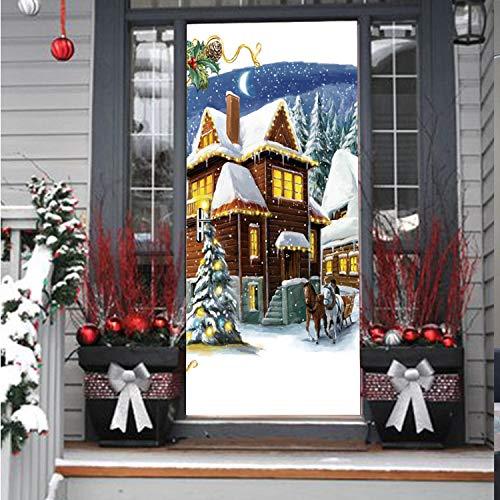 zpbzambm Weihnachten 3D DIY Wandtattoo Tür Aufkleber Paris Wasserdicht Aufkleber Wand Wohnkultur Tapete An Der Wand Tür Dekor 90X200 cm - Paris-wand-aufkleber