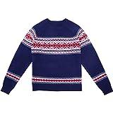 Blueberry Pet Herren Festtagseleganz Geheimer Fair-Isle-Stil Pullover in Marineblau, S