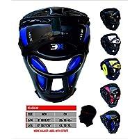 PROFESSIONAL CHOICE 3XSports Parrilla Protector de cabeza de barra Maya Hide sintético Rex de cuero boxeo MMA protector de cabeza UFC cabeza de combate protector Sparring casco (azul, grande/XL)