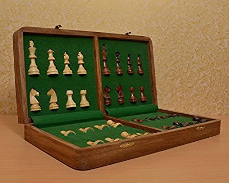 Bansal II Bansal India Wooden Chess Board with Coin Fitting- Size 16x16 inch