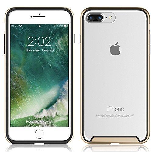 iPhone 7 Case - KHOMO Essence Luxus-Ausgabe Bumpern Case mit kristallklarer Rückwand Ultra Slim Hülle mit kompletten Schutz fur dein neue Apple iPhone 7 - Dunkelgrau Gold